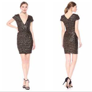 Dress The Population Zoe Sequin V-Neck Mini Dress